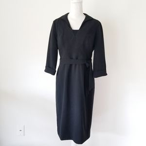 Black Halow Wrap 3/4 Sleeve V-Neck Dress 8